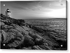 Newport Rhode Island-castle Hill Black And White Acrylic Print by Thomas Schoeller