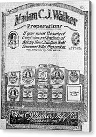 Newspaper Ad For Madam C.j. Walker Acrylic Print by Everett
