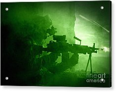 Night Vision View Of A U.s. Army Ranger Acrylic Print by Tom Weber