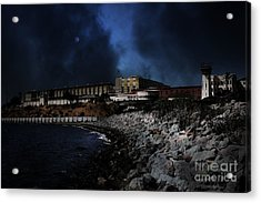 Nightfall Over Hard Time - San Quentin California State Prison - 5d18454 Acrylic Print by Wingsdomain Art and Photography