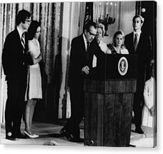 Nixon Presidency. From Left David Acrylic Print by Everett