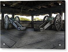 North Redoubt Cannons Acrylic Print by Peter Chilelli
