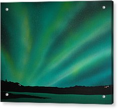 Northern Lights Cabin 3 Acrylic Print by DC Decker