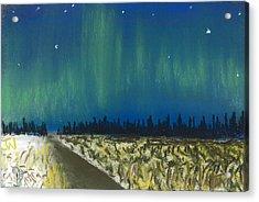 Northern Lights Road Trip Acrylic Print by Jackie Novak