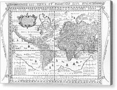 Nova Totius Terrarum Orbis Geographica Ac Hydrographica Tabula Acrylic Print by Dutch School