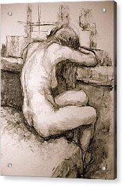 Nude On The Window Acrylic Print by Alfons Niex