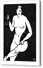Nude Sketch 12 Acrylic Print by Leonid Petrushin