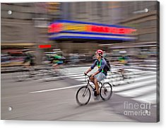Nyc Bike Tour Acrylic Print by Susan Candelario