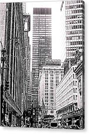 Nyc Buildings Labyrinth Acrylic Print by Mario Perez
