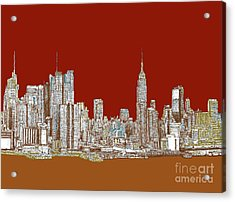 Nyc Skyline In Red Sepia Acrylic Print by Building  Art