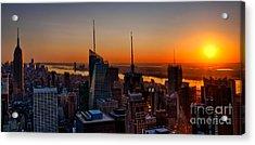 Nyc Sunset Acrylic Print by Susan Candelario