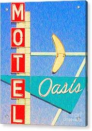 Oasis Motel Tulsa Oklahoma Acrylic Print by Wingsdomain Art and Photography