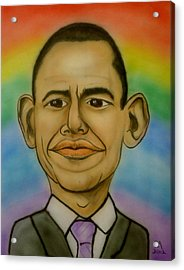 Obama Rainbow Acrylic Print by Pete Maier