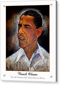 Obama. The 44th President. Acrylic Print by Fred Makubuya