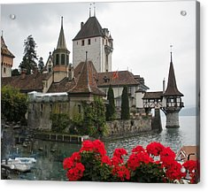 Oberhofen Castle Switzerland Acrylic Print by Marilyn Dunlap