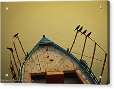 Occupied Boat On Ganges Acrylic Print by Www.victoriawlaka.com