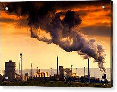 Oil Refinery Acrylic Print by John Short