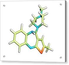 Olanzapine Antipsychotic Drug Molecule Acrylic Print by Dr Tim Evans