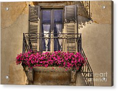 Old Balcony With Red Flowers Acrylic Print by Mats Silvan