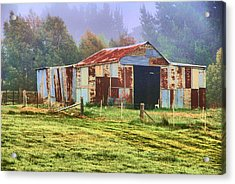 Old Barn In The Mist Acrylic Print by Fran Woods
