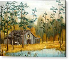 Old Barn With Chickens Acrylic Print by Vivian Eagleson