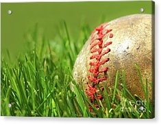 Old Baseball Glove On The Grass Acrylic Print by Sandra Cunningham