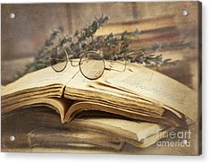 Old Books Open On Wooden Table  Acrylic Print by Sandra Cunningham
