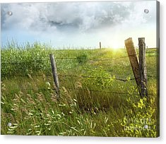 Old Country Fence On The Prairies Acrylic Print by Sandra Cunningham