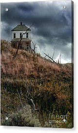 Old Farmhouse With Stormy Sky Acrylic Print by Jill Battaglia