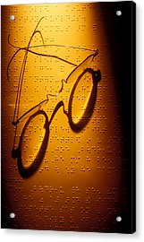 Old Glasses On Braille  Acrylic Print by Garry Gay
