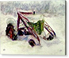 Snow Scenes In Watercolors Acrylic Print featuring the painting Old John Deere In Snow - Watercolor Painting by Quin Sweetman
