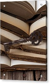 Old Key On Books Acrylic Print by Garry Gay