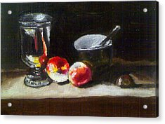 Old Master Still Life Apples And Bowl Acrylic Print by Dawn marie  Nabong