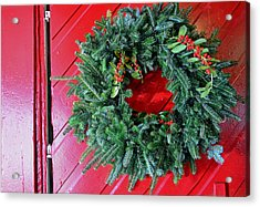 Old Mill Of Guilford Door Wreath Acrylic Print by Sandi OReilly