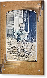 Old Photo Of A Baby Outside Acrylic Print by Susan Leggett