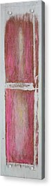 Old Pink Kitchen Door Emanating Light Acrylic Print by Asha Carolyn Young