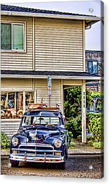 Old Plymouth And Surfboard Acrylic Print by Carol Leigh