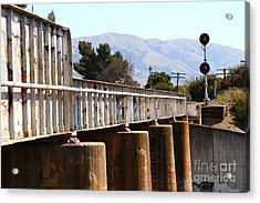 Old Railroad Bridge In Fremont California Near Historic Niles District In California . 7d12669 Acrylic Print by Wingsdomain Art and Photography