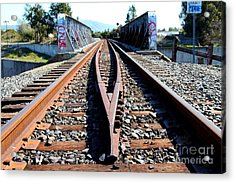 Old Railroad Bridge In Fremont California Near Historic Niles District In California . 7d12678 Acrylic Print by Wingsdomain Art and Photography