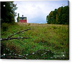 Old Red Barn On The Hill Acrylic Print by Edward Fielding