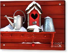 Old Red Birdhouse Acrylic Print by Sandra Cunningham
