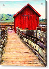 Old Red Shack Acrylic Print by Wingsdomain Art and Photography