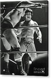 Old School Wrestling Karate Chop On Don Muraco By Dean Ho Acrylic Print by Jim Fitzpatrick