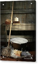 Old Wash Bucket With Mop And Brushes Acrylic Print by Sandra Cunningham