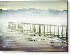 Old Wooden Bridge Into A Mountain Lake On A Foggy Morning Acrylic Print by Joana Kruse
