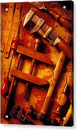 Old Worn Tools Acrylic Print by Garry Gay
