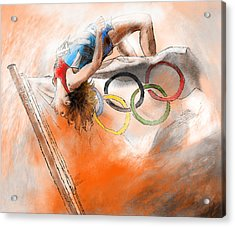 Olympics High Jump Gold Medal Ivan Ukhov Acrylic Print by Miki De Goodaboom