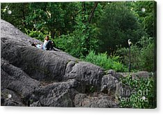 On The Rocks In Central Park Acrylic Print by Lee Dos Santos