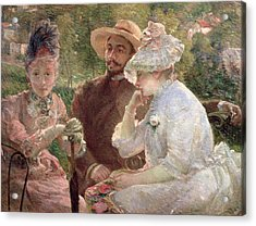 On The Terrace At Sevres Acrylic Print by Marie Bracquemond