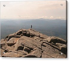 One Man Standing On Top Of The World Acrylic Print by Rachel Snell